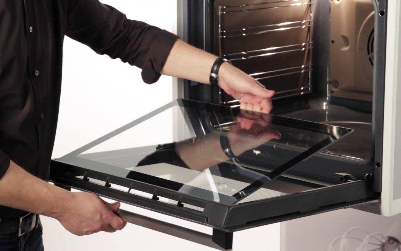 Как помыть дверцу духовку между стекол